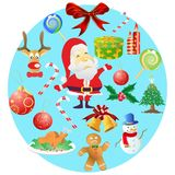 Christmas symbols in round cricle. Christmas symbols in round cricle on white background Stock Photo
