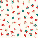 Christmas symbols seamless background, xmas pattern Royalty Free Stock Photos