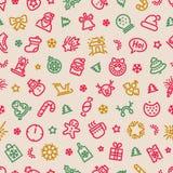 Christmas Symbols Seamless Pattern Colorful Stock Photo