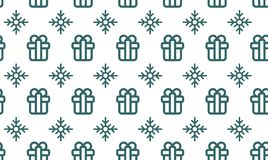 Christmas symbols seamless pattern for gift packaging simple vector illustration.  Stock Image