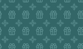 Christmas symbols seamless pattern for gift packaging simple vector illustration.  Stock Photos