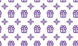 Christmas symbols seamless pattern for gift packaging simple vector illustration.  Stock Photography