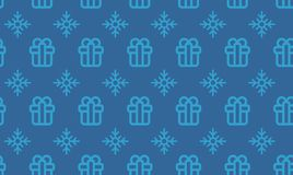 Christmas symbols seamless pattern for gift packaging simple vector illustration.  Royalty Free Stock Images
