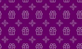 Christmas symbols seamless pattern for gift packaging simple vector illustration.  Royalty Free Stock Image