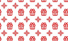 Christmas symbols seamless pattern for gift packaging simple vector illustration.  Royalty Free Stock Photos