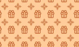Christmas symbols seamless pattern for gift packaging simple vector illustration.  Stock Images