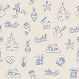 Christmas seamless pattern, small holiday symbols. Christmas symbols seamless pattern, outline icons vector illustration