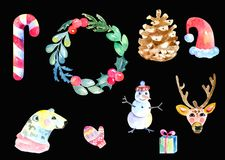 Christmas Symbols Set of design elements Watercolor. Isolated on black background Stock Photography