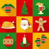 Christmas Symbols Set in Flat Style. With Long Shadows Royalty Free Stock Images