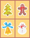 Christmas Symbols Set of Icons Vector Illustration. Christmas symbols set of icons on light yellow background. Vector illustration with cute snowman with golden Royalty Free Stock Photo