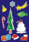 Christmas symbols, set, label, vector icon. Group of christmas symbols, snowflake, comet, bell, tree, fish, cane, snowan, gifts, cap and shoe of Santa Claus royalty free illustration