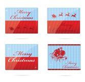 Christmas symbols set red and blue color Stock Photos