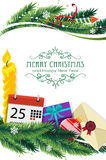Christmas symbols and spruce branches Stock Photo