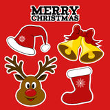 Christmas symbols. Stickers. Royalty Free Stock Image