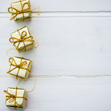 Christmas Symbols and Tree Decorations such as Boxes of Presents Royalty Free Stock Photos