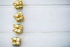 Christmas Symbols and Tree Decorations such as Boxes of Presents Stock Image
