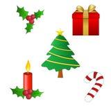 Christmas symbols. Tree, gift, candle, candy stick, mistletoe stock illustration