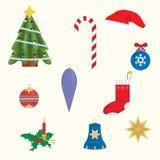 Christmas symbols. Christmas tree ornaments Santa's hat Candlesticks Star Royalty Free Stock Photography