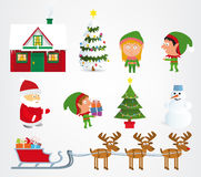 Christmas symbols. Vector illustration of classic christmas symbols (santa claus, elfs Royalty Free Stock Photo