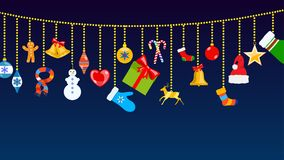 Christmas symbols and warm winter clothes hanging on ropes of ba. Set of Christmas symbols and warm winter clothes in flat style hanging on ropes of balls Royalty Free Stock Images