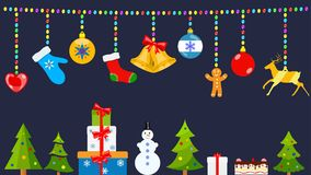 Christmas symbols and warm winter clothes hanging on ropes of ba. Set of Christmas symbols and warm winter clothes in flat style hanging on ropes of colored Royalty Free Stock Image