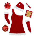 Christmas symbols and woman clothes isolated on white Royalty Free Stock Photos