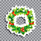 Christmas symbols-05. Christmas wreath isolated on transparent background. Xmas vector illustration. Design element for greeting cards or flyers Royalty Free Stock Image
