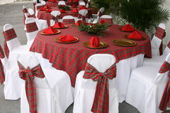 Christmas table. A picture of a table set up for a christmas meal Stock Photos