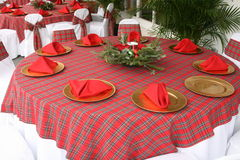 Christmas table. A picture of a table top set up for christmas stock photo