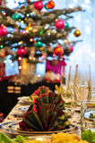 Christmas table stock image