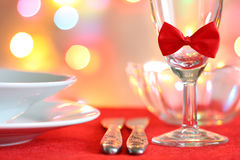 Christmas table abstract background with red ribbon Stock Photography