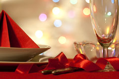 Christmas table abstract background with red ribbon Stock Photo