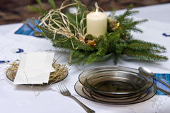 Christmas table arrangement Stock Photo