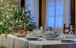 Christmas table with bread Royalty Free Stock Photo