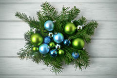 Christmas table centerpiece with blue and green ornaments, toned Royalty Free Stock Photo