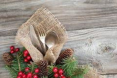 Christmas table with Christmas decoration Stock Photos