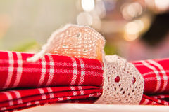 Christmas Table Closeup. Closeup photograph of a Christmas table napkin Royalty Free Stock Images