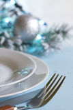 Christmas table with cutlery and tableware Stock Photo