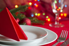 Christmas table with cutlery and tableware. Abstract background Stock Photography