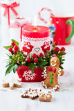 Christmas table decorated with candle Stock Image