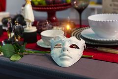 Christmas table decorated with mask and flower Stock Images