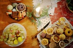 Christmas table decorated with typical objects Royalty Free Stock Photo