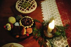 Christmas table decorated with typical objects Stock Image