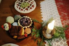 Christmas table decorated with typical objects Stock Photography