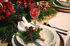 Christmas table decoration Royalty Free Stock Photo