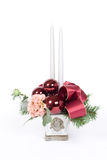 Christmas table decoration. Series with candles and glass balls royalty free stock photos