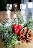 Christmas table decoration. In cafe Royalty Free Stock Photos