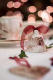 Christmas table decoration. With bell and coffe cup Stock Images