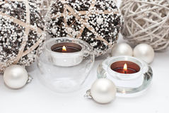 Christmas. Table decoration with candle Royalty Free Stock Images