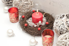Christmas. Table decoration with candle Stock Photos